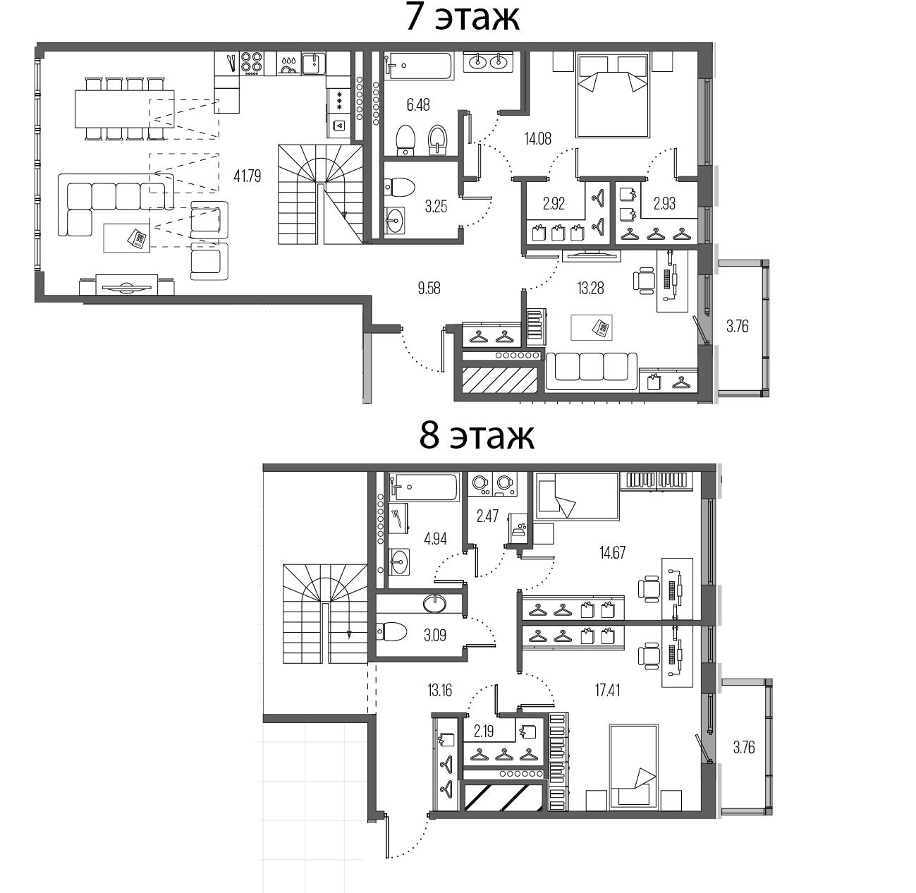 4-комнатная 159 м<sup>2</sup> на 7 этаже