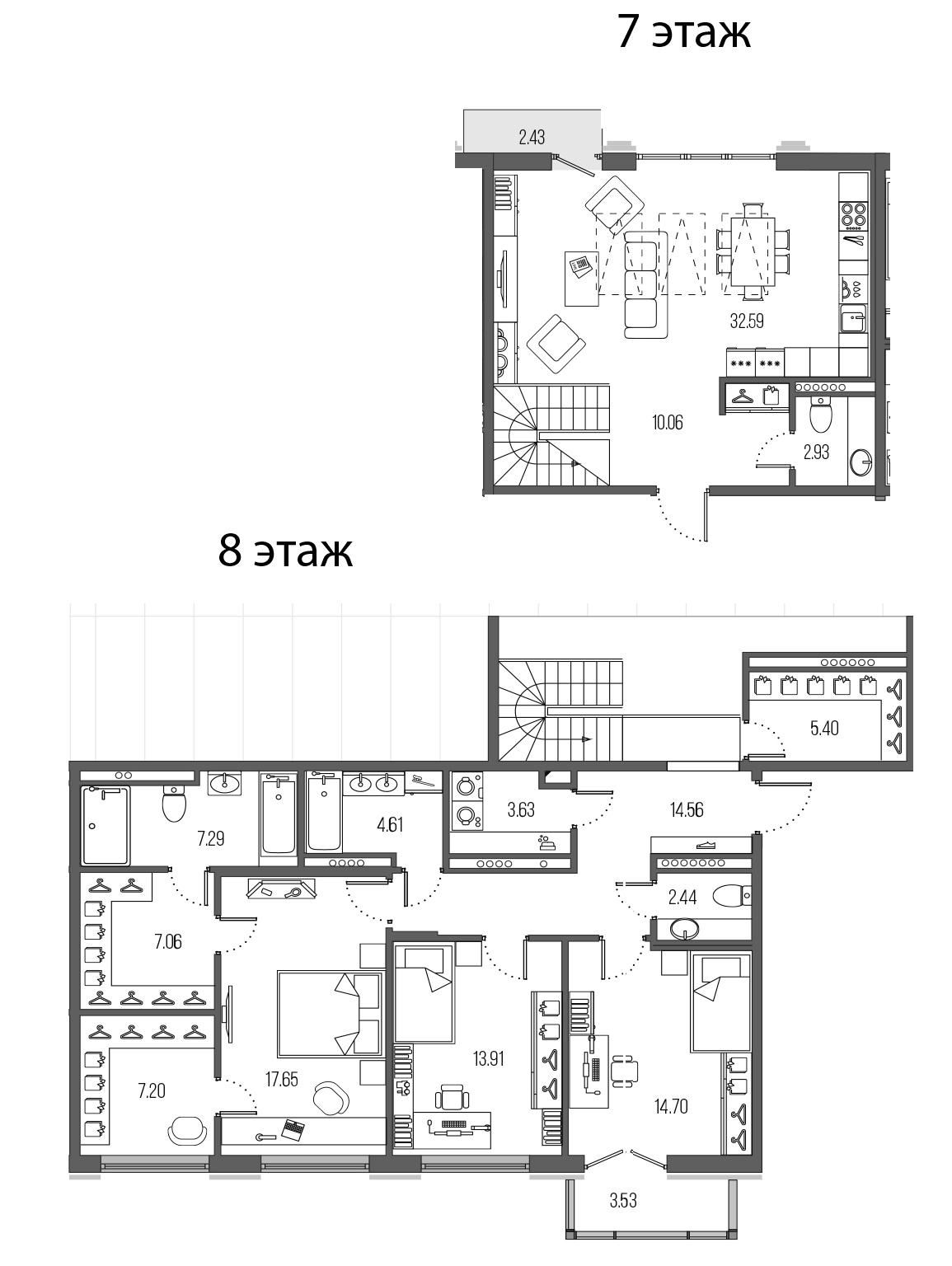 4-комнатная 146 м<sup>2</sup> на 7 этаже