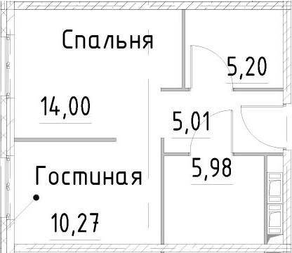 2-к.кв, 40.46 м²