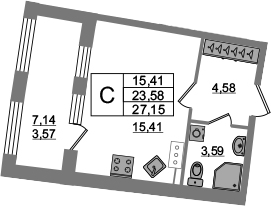 Студия 30 м<sup>2</sup> на 13 этаже