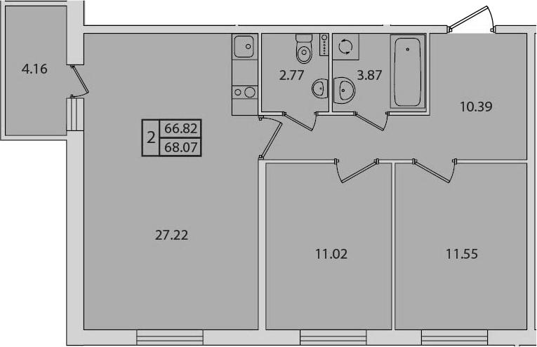 3-к.кв (евро), 70.98 м²