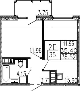 2-к.кв (евро), 39.15 м²