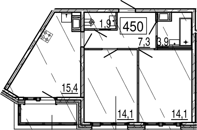 3-комнатная 60 м<sup>2</sup> на 11 этаже
