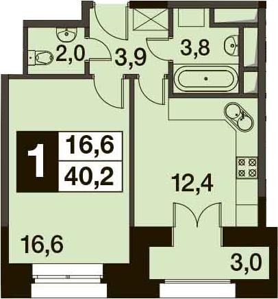 1-к.кв, 41.7 м²