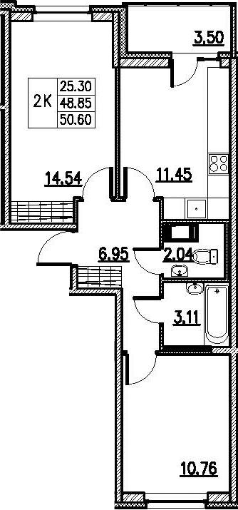 2-комнатная 52 м<sup>2</sup> на 3 этаже