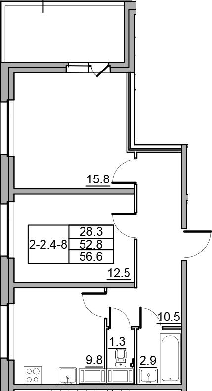 2-комнатная 60 м<sup>2</sup> на 16 этаже