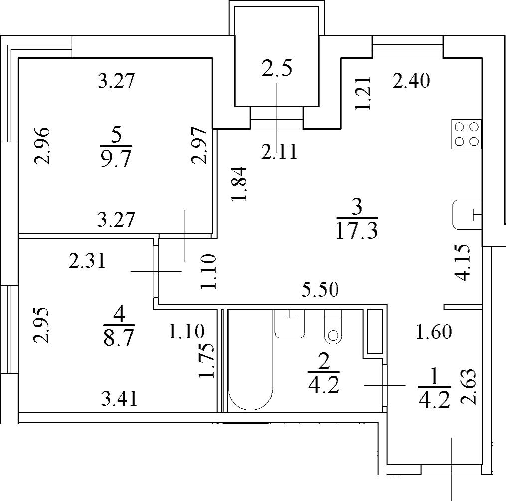 3-комнатная 46 м<sup>2</sup> на 4 этаже