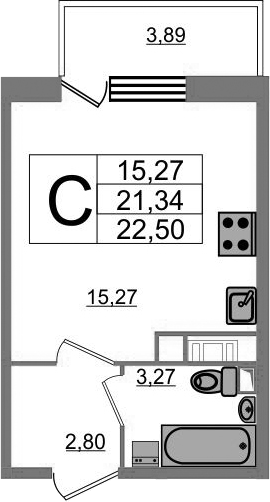 Студия 25 м<sup>2</sup> на 17 этаже