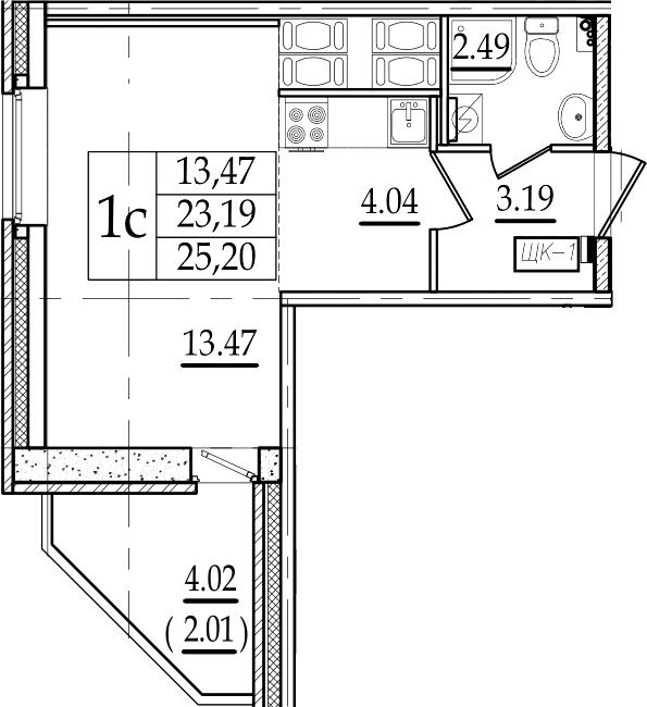 Студия 27 м<sup>2</sup> на 19 этаже