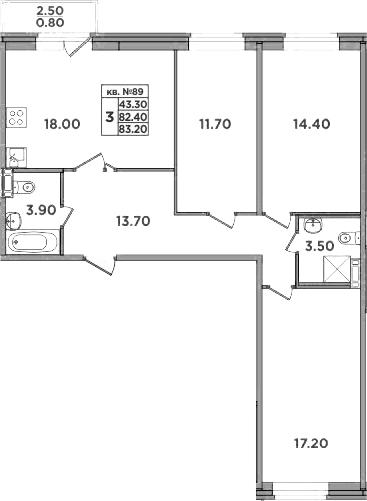 4-к.кв (евро), 84.9 м²