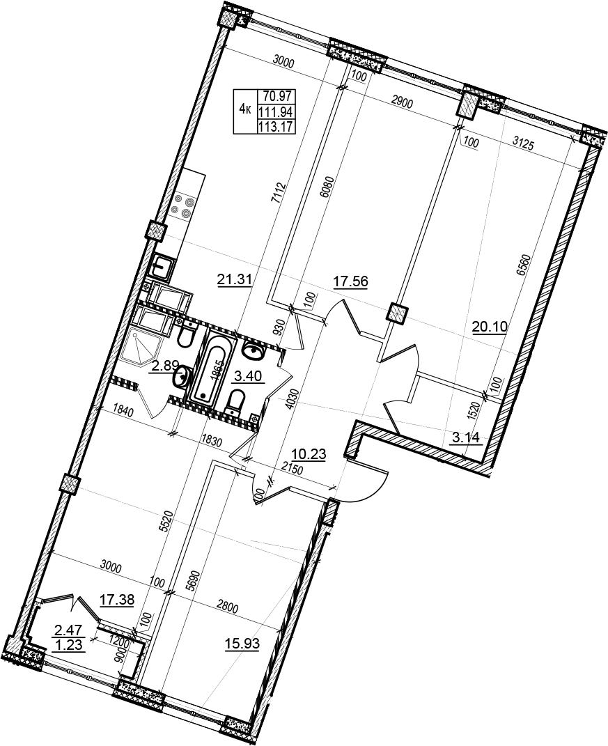 4-комнатная 114 м<sup>2</sup> на 6 этаже