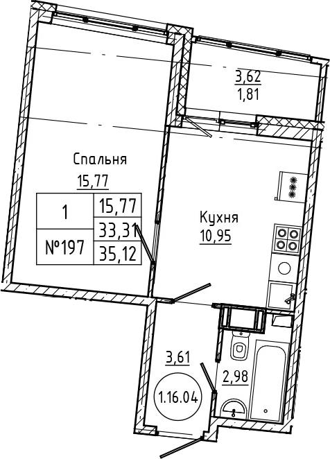 1-комнатная 36 м<sup>2</sup> на 16 этаже