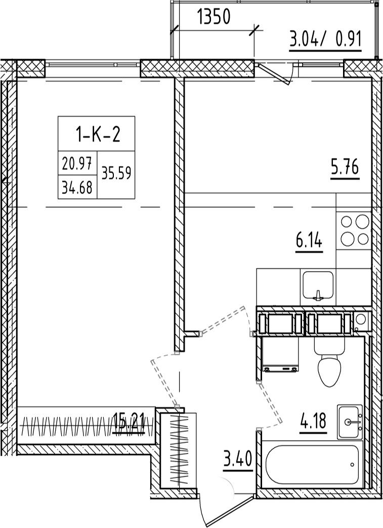 1-к.кв, 37.74 м²