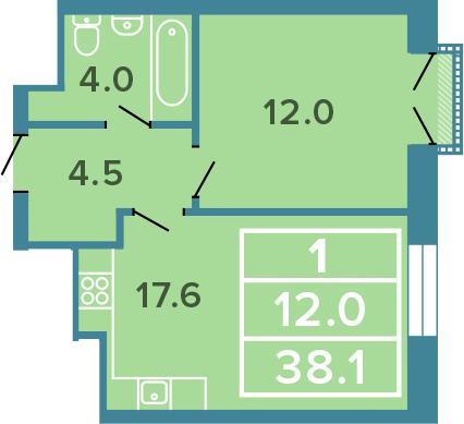 2-к.кв (евро), 38.1 м²