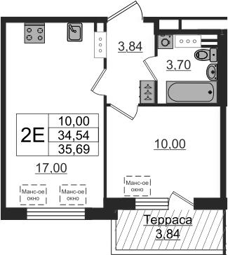 2-комнатная 38 м<sup>2</sup> на 5 этаже