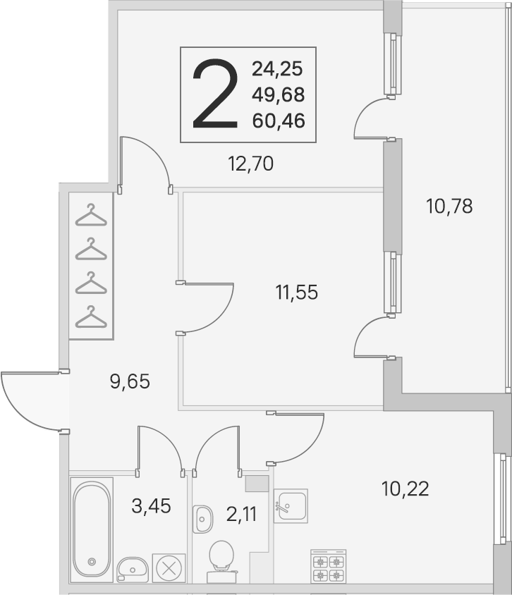 2-комнатная 60 м<sup>2</sup> на 2 этаже