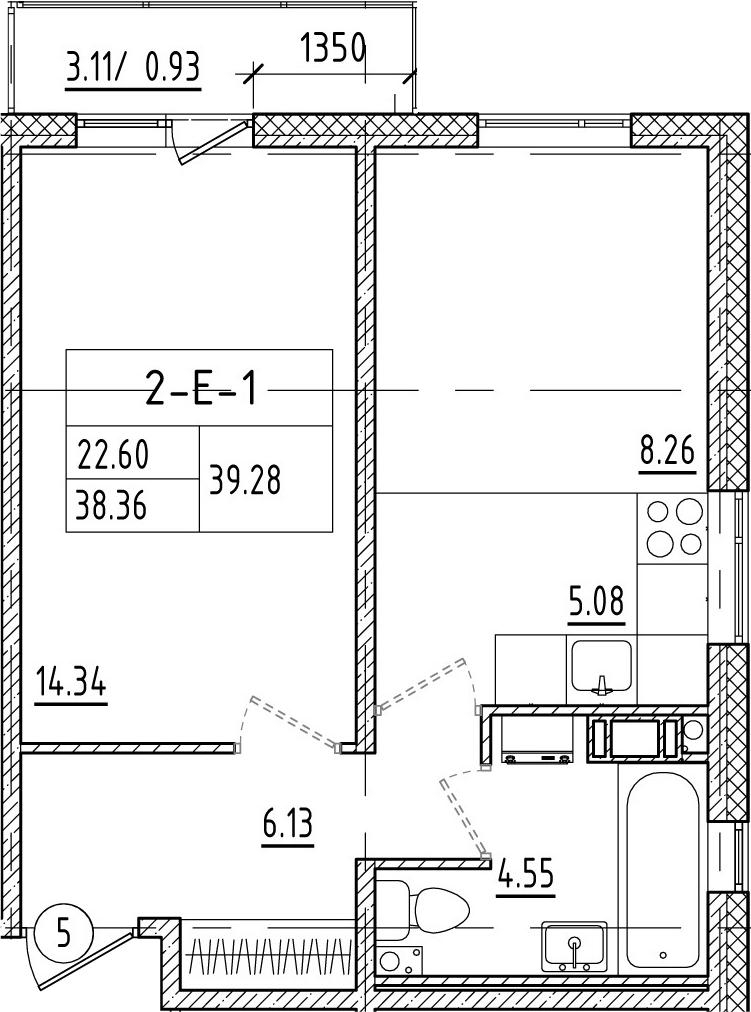 2-к.кв (евро), 41.45 м²