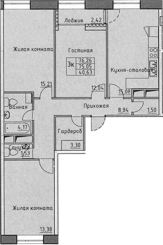 3-к.кв, 77.47 м²