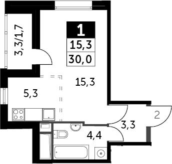 Студия, 31.7 м²