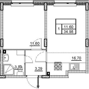 2-комнатная 34 м<sup>2</sup> на 1 этаже
