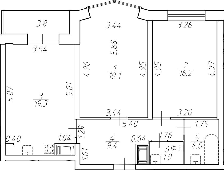 3-комнатная 73 м<sup>2</sup> на 9 этаже
