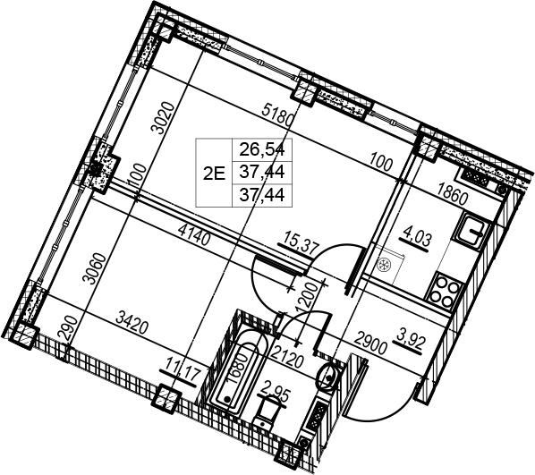 2-комнатная 37 м<sup>2</sup> на 4 этаже