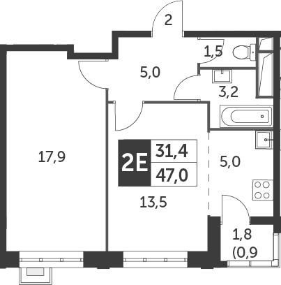 2-к.кв (евро), 47.9 м²