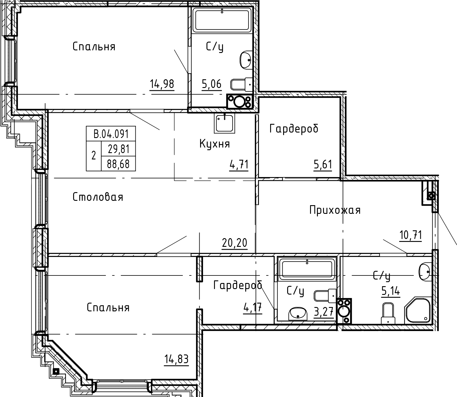 3-комнатная 88 м<sup>2</sup> на 4 этаже