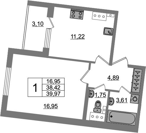 1-комнатная 41 м<sup>2</sup> на 4 этаже