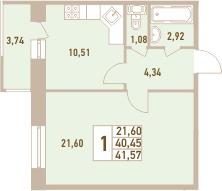 1-комнатная 44 м<sup>2</sup> на 10 этаже