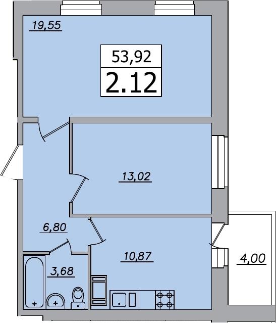 2-к.кв, 57.92 м²