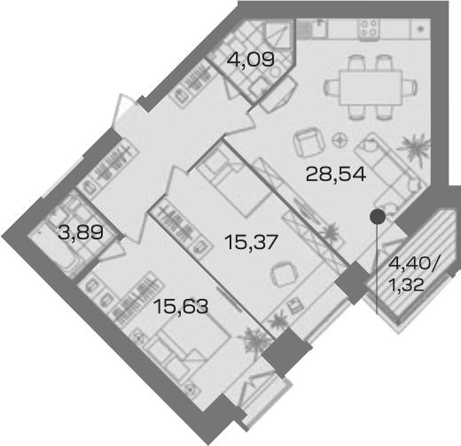 2-комнатная 82 м<sup>2</sup> на 3 этаже