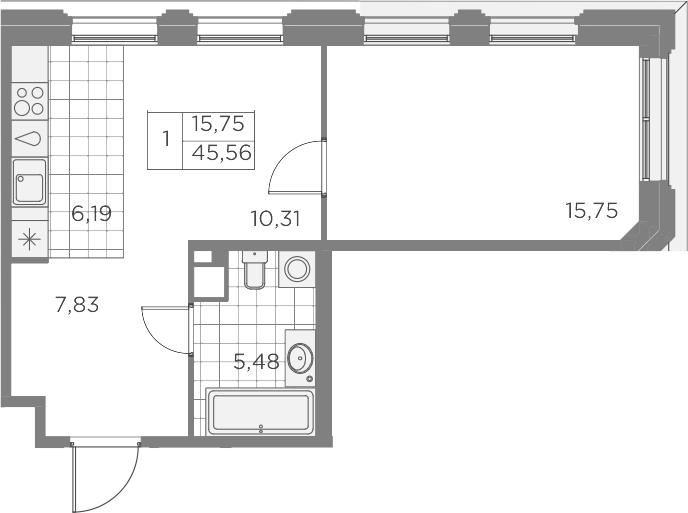 2-комнатная 45 м<sup>2</sup> на 7 этаже