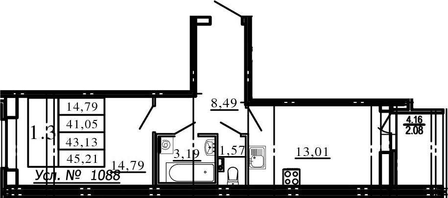 1-к.кв, 45.21 м²