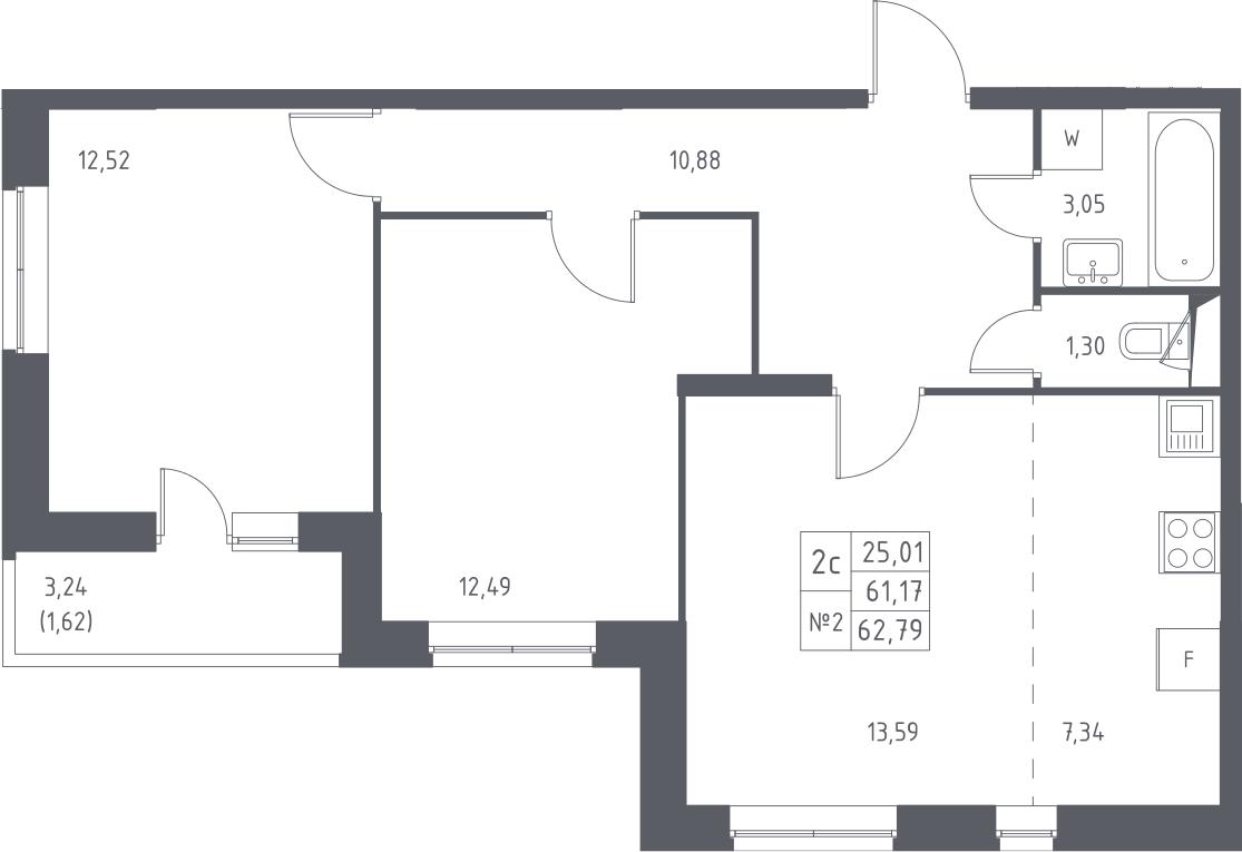 3-к.кв (евро), 64.41 м²