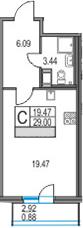 Студия 31 м<sup>2</sup> на 25 этаже