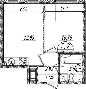 2-комнатная 30 м<sup>2</sup> на 12 этаже