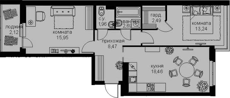 3-комнатная 67 м<sup>2</sup> на 2 этаже