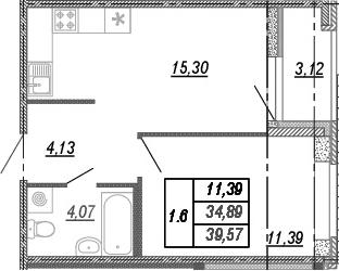 2-комнатная 38 м<sup>2</sup> на 1 этаже