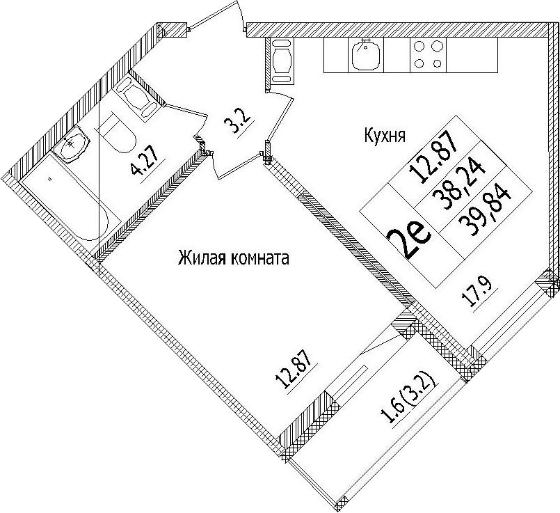 2-к.кв (евро), 41.44 м²
