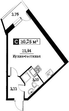 Студия 32 м<sup>2</sup> на 10 этаже