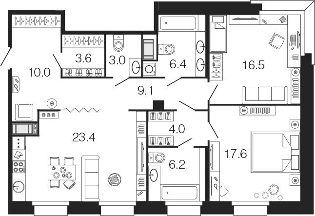 3-комнатная 99 м<sup>2</sup> на 4 этаже