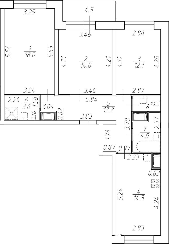 3-комнатная 85 м<sup>2</sup> на 7 этаже