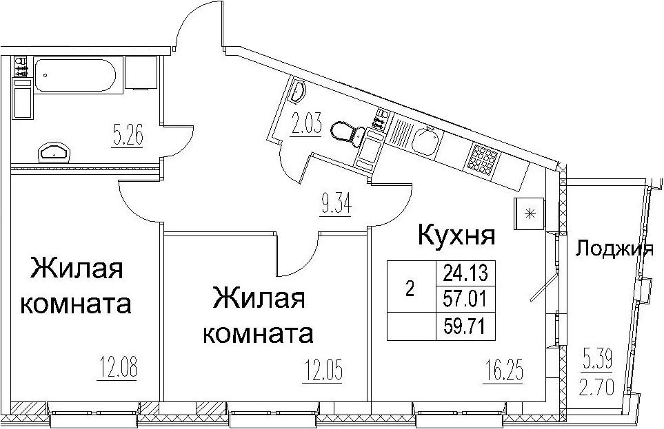 3-комнатная 62 м<sup>2</sup> на 5 этаже