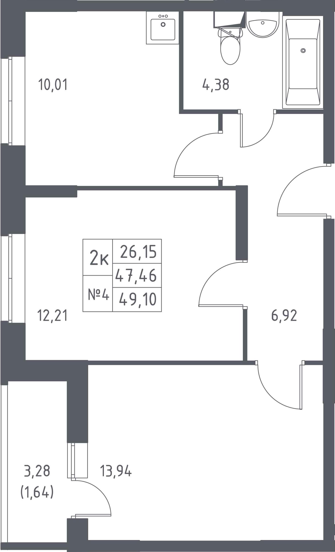 3-к.кв (евро), 50.74 м²