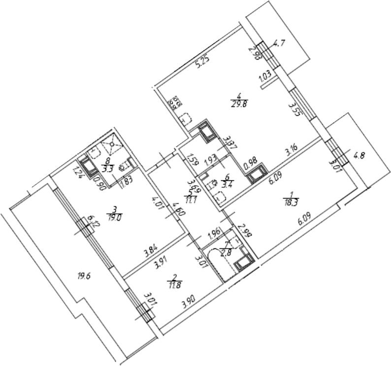 4-комнатная 128 м<sup>2</sup> на 10 этаже
