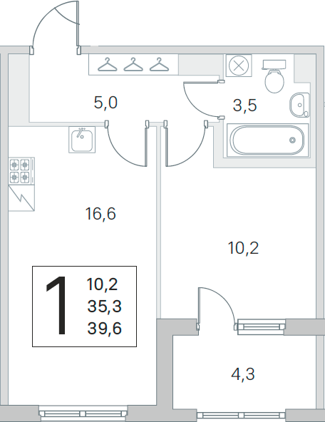2-комнатная 39 м<sup>2</sup> на 4 этаже
