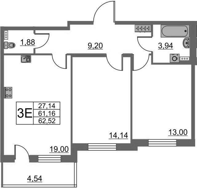 3-комнатная 65 м<sup>2</sup> на 1 этаже