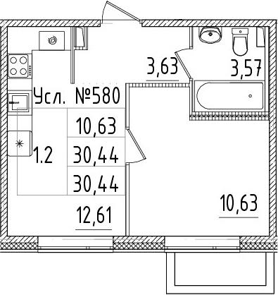 1-к.кв, 30.44 м²