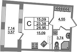Студия 30 м<sup>2</sup> на 14 этаже